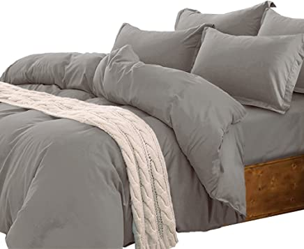 Essina Candies Collection Solid Color King Duvet Cover Set 3pc,  Cotton 620 Thread Count,  Gray