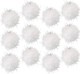 Juvale 12-Pack Christmas Tree Ornaments - White Glitter Foam Sparkle Christmas Balls Decoration, White Winter Holiday Design, Hanging Plastic Bauble Decor, Large 2.7 Inches