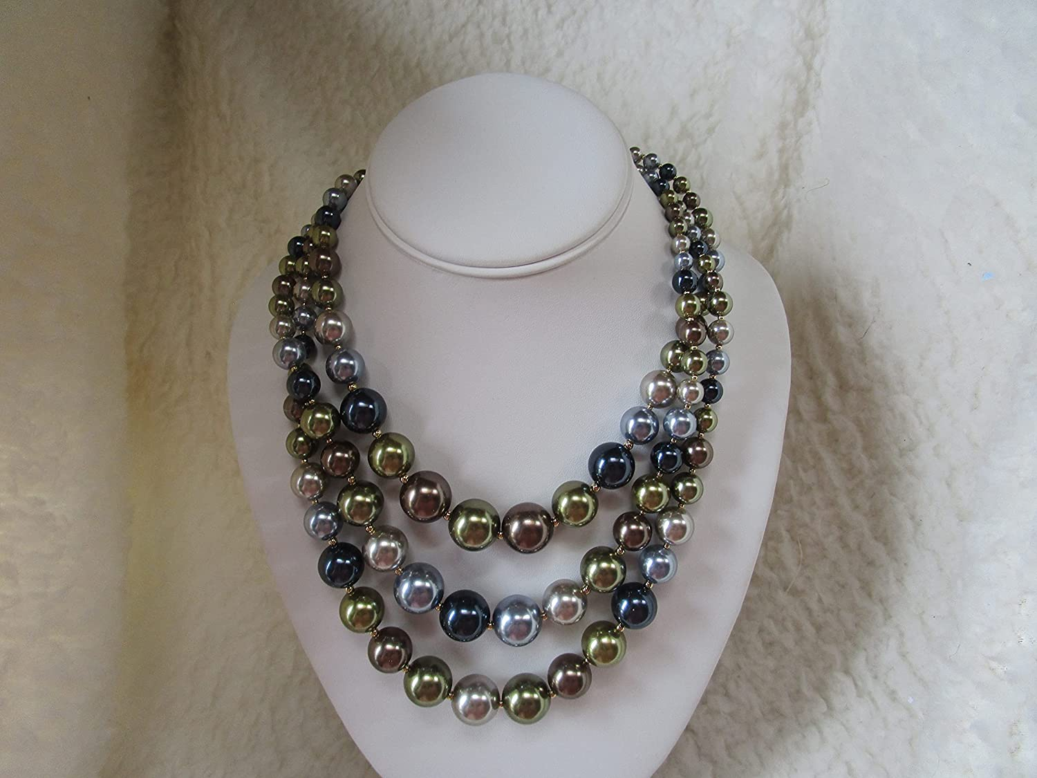 New Charter Club Imitation Pearl Three-Row Collar Necklace Approximate length: 17