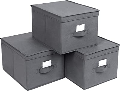 SONGMICS Set of 3 Foldable Storage Boxes with Lids, Fabric Cubes with Label Holders, Storage Bins and Organiser, 11.8 x 15.7 x 9.8 Inches, Gray URLB40GY