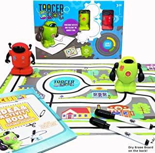 MukikiM TracerBot Set (2 Robot Set) - Mini Inductive Robot That Follows The Black Line You Draw. Fun, Educational, and Int...