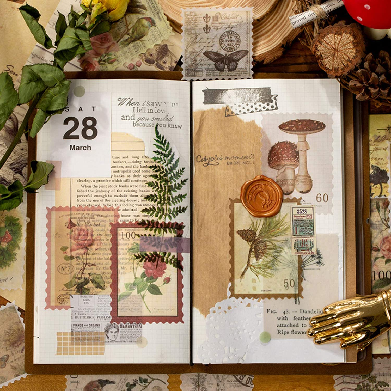Bullet Journal Ephemera Cotrida 60pcs Vintage Flower Postage Stamp Stickers Planners Kid DIY Art Crafts Aesthetic Botanical Deco Paper Sticker for Scrapbooking Journaling Supplies
