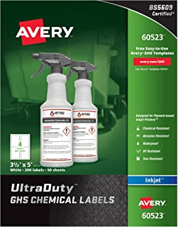 Avery Ultra Duty GHS Chemical Labels for Pigment Inkjet Printers, Waterproof, UV Resistant, 3.5