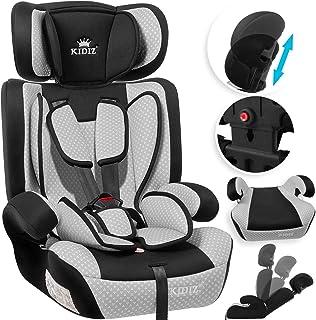KIDIZ Autokindersitz Kindersitz Kinderautositz | Autositz Sitzschale | 9 kg - 36 kg 1-12 Jahre | Gruppe 1/2 / 3 | universal | zugelassen nach ECE R44/04 | 6 verschiedenen Farben | Grau