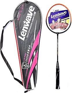 LenWave (LW-T022)- Ferro Alloy Isometric Strung Badminton Racquet with Cover White, Blue Strung Badminton Racquet (White/Blue)