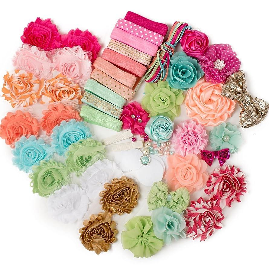 Confetti : DIY Deluxe Headband Kit Makes 25+ Unique Hair Accessories : Shabby Chiffon Craft Roses Elastics : Parties & Baby Showers : Pink Peach & Aqua Mint