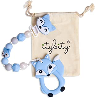 Fox Pacifier Clip and Teether - BPA-Free Infant Teether with Easy-to-Hold Design and Textured Back Side to Massage and Soothe Sore, Swollen Gums (Blue)