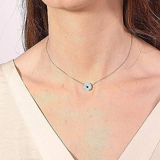 Collana con malocchio Collana con catena in argento sterling 925 - Gioielli in opale con ciondolo tondo con malocchio, est...