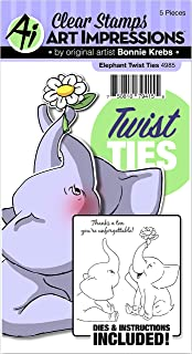 Art Impressions 4985 Twist Ties Elephant Stamp & Die Set, Multicolor