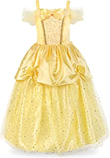 JerrisApparel Girls Princess Belle Costume Sequin Overlay Party Dress