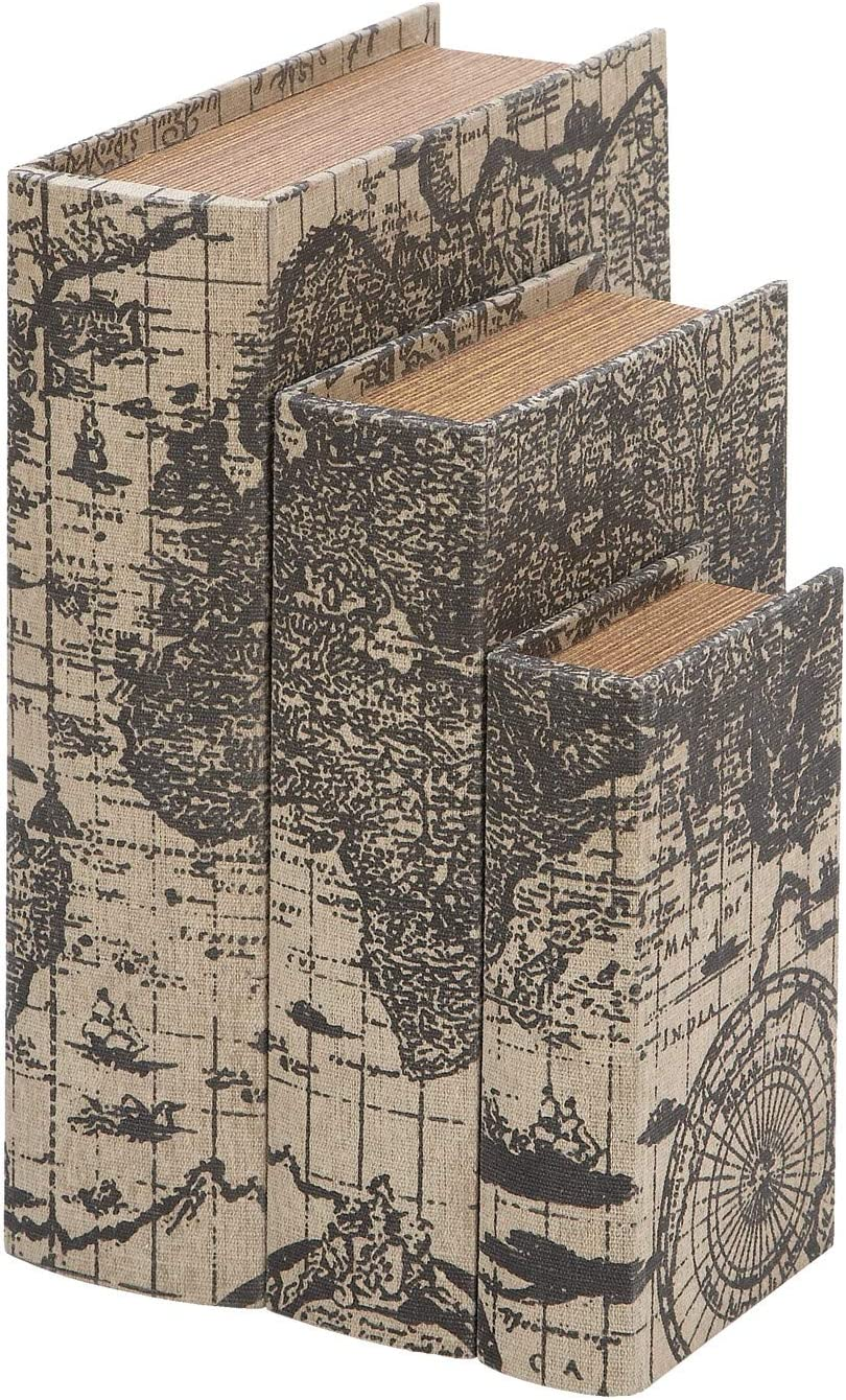 shipfree Deco 79 Faux Book Boxes Ancient Map New product with World
