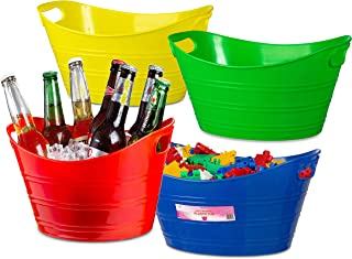 Zilpoo 4 Pack - Oval Storage Tub with Handles, Colorful Classroom Organization Bins, Plastic Ice Bucket, Party Beverage Chiller Tubs, Baskets, 4.5L, Assorted Colored