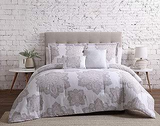 KingLinen 9 Piece Larissa Rose/Gray/White Bed in a Bag Set Full