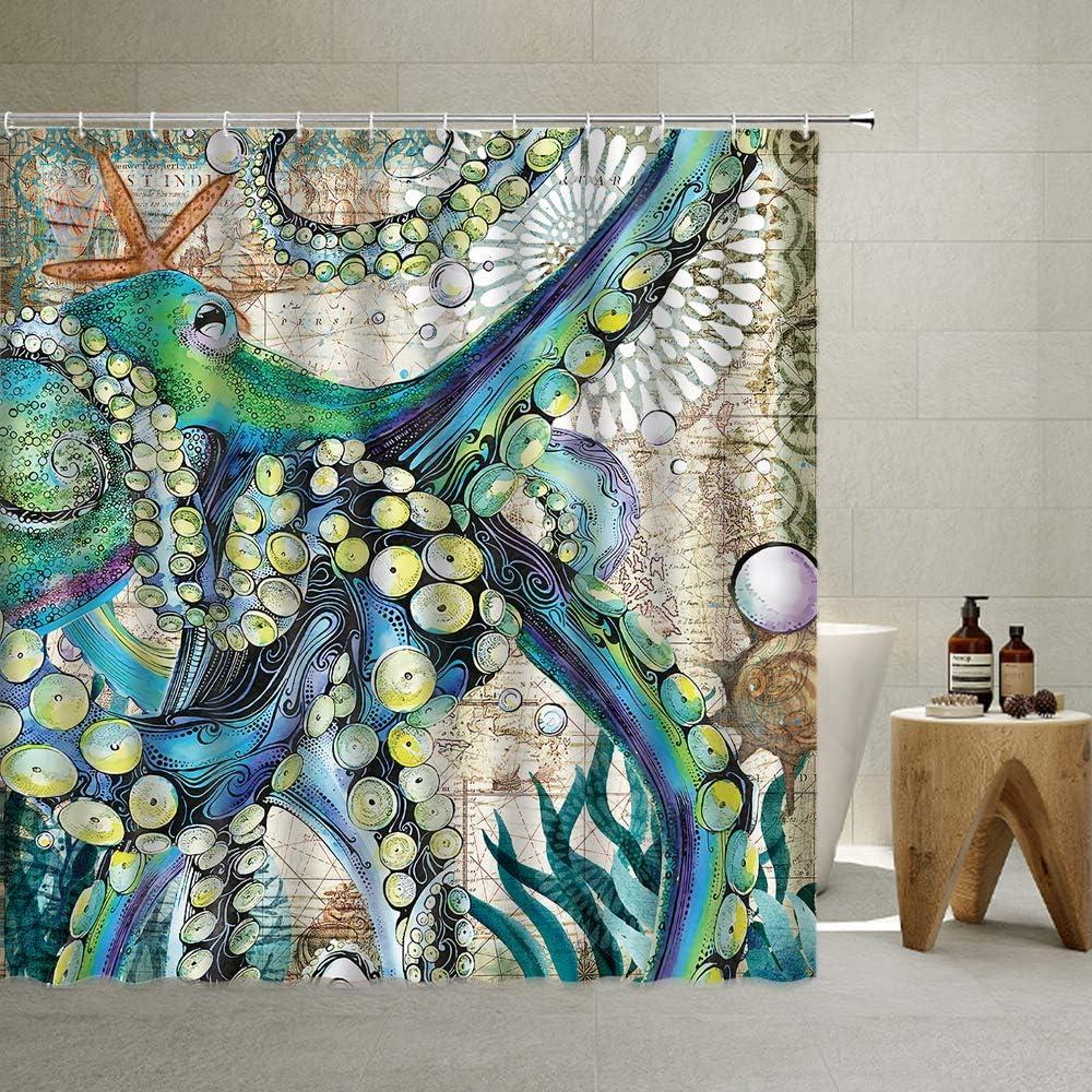 QYVLHD Octopus Ranking TOP15 Shower Curtain Vintage Wildlife Japan Maker New Sea Monster Krak