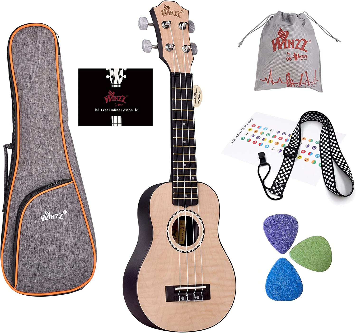 WINZZ 21 Inches Soprano Ukulele Same day shipping for School Adults Kids Beginners Milwaukee Mall