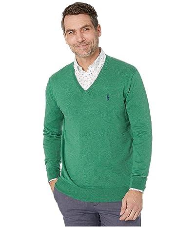 Polo Ralph Lauren Cotton V-Neck Sweater (Potomac Green Heather) Men