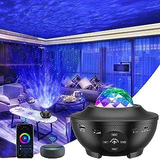 GRDE Lámpara Proyector, Lámpara de Nocturna Estrellas & Océano 2 in 1 con Rotación y Música Temporización y Remoto Bluetoo...