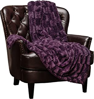 Chanasya Super Soft Fuzzy Faux Fur Elegant Rectangular Embossed Throw Blanket | Fluffy Plush Sherpa Cozy Violet Purple Blanket for Bed Couch Living Room Fall Winter Spring (50x65) - Aubergine