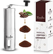 Zivollto Manual Coffee Grinder - Unique Design Conical Ceramic Burr Mill for Easy Grind - Strong and Heavy Duty Built for Travel - Hand Sized and Portable - Made with Supreme Quality Stainless Steel