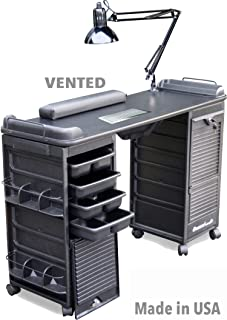 B607 Vented Manicure Nail Table Station w/Double Lockable Cabinets All Black Made in USA by Dina Meri