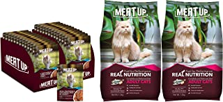 Meat Up Adult(+1 Year) Wet Cat Food, Real Chicken and Chicken Liver in Gravy, 12 Pouches (12 X 70G) & Adult(+1 Year) Dry C...