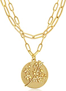 JSJOY Gold Layered Necklace for Women 18k Gold Birth Month Flower Engraved Coin Pendant Necklaces Paperclip Choker Chain G...