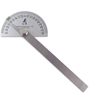 Shinwa Japanese #19 Stainless Steel Protractor 0-180 degrees with Round Head