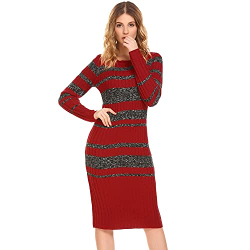 910957cdf0ac GEESENSS Women Long Sleeve Striped Slim Fit Cotton Knit Knee Length  Pullover Sweater Dress