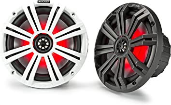 Kicker 45KM84L 8-Inch Marine Coaxial Boat Speakers, Black and White Grilles, Red LED..