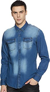 Beat London by Pepe Jeans Men's Solid Slim Fit Casual Shirt