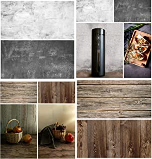Beiyang Fotohintergrund, Papier, Holz, Marmor, wasserdicht, Lebensmittel Fotohintergrund, doppelseitig, 2 Stück