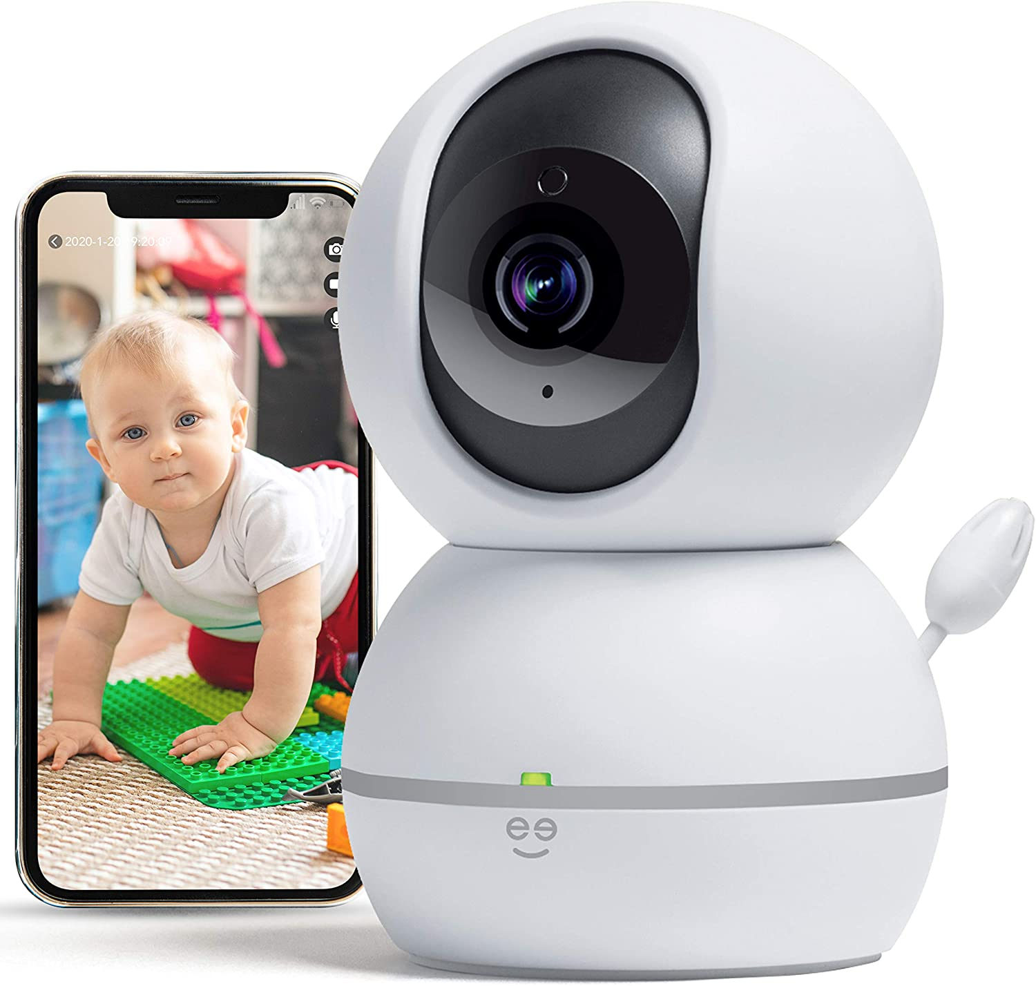Geeni Smart Home Pet and Baby Monitor with Camera, 1080p Wireless WiFi Camera with Motion and Sound Alert (White)