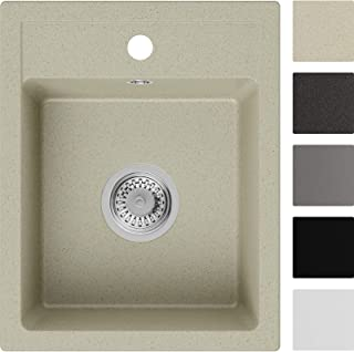 Spülbecken Beige 40 x 50 cm, Granitspüle  Siphon Klassisch, Küchenspüle ab 40er Unterschrank in 5 Farben mit Siphon und Antibakterielle Varianten, Einbauspüle von Primagran