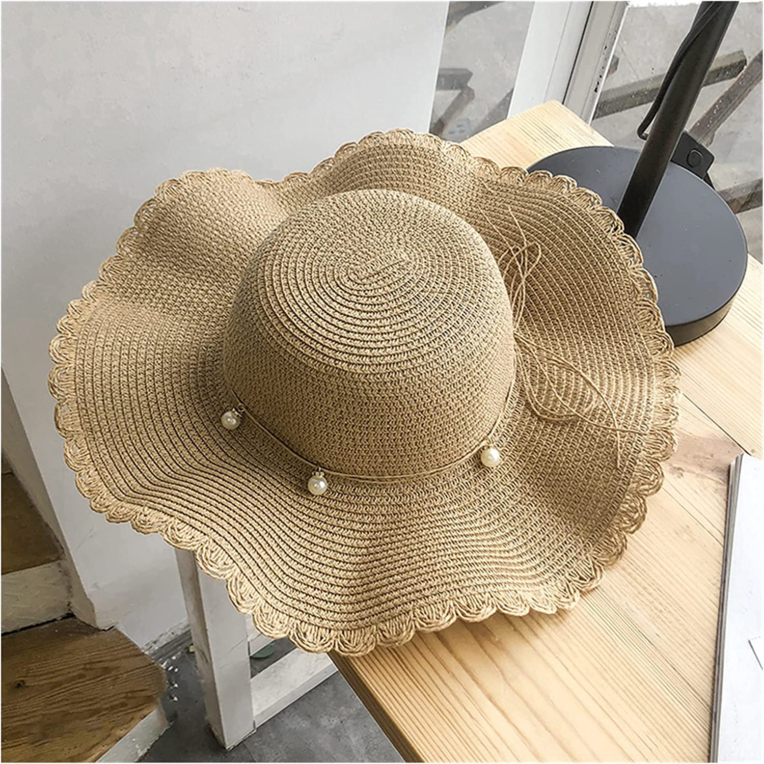 Sun hat Lady Wide Max 43% OFF Brim Straw Outlet sale feature Foldable Floppy Hat Cap Summer Roll
