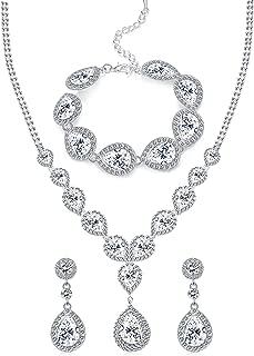 Wedding Bridal Crystal Jewelry Set for Women Teardrop Statement Necklace Bracelets Earrings Set