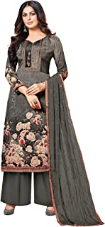 Rajnandini Women's Charcoal Grey Pure Muslin Embroidered Unstitched Salwar Suit Material