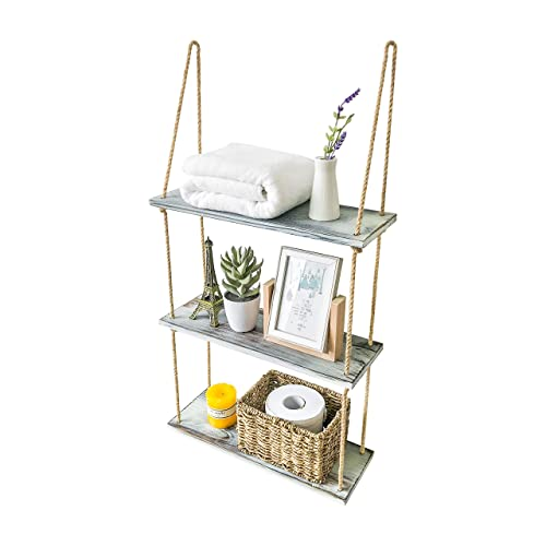 Rustic Floating Shelves Wall Mounted, Hanging Shelves for Wall, Wall Shelves for Bedroom Living Room Kitchen, Bathroom Shelves Over The Toilet Storage, 3 Tier Shelf (Rustic White)