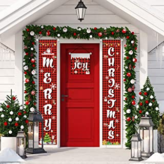 3 Pieces Christmas Porch Banners Front Door Porch Sign Banner Hanging Christmas Decorations for Home Wall Indoor Outdoor Holiday Party Favors (Color 2)