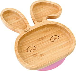 Baby Toddler Rabbit Suction Plate, Stay Put Feeding Plate, Natural Bamboo