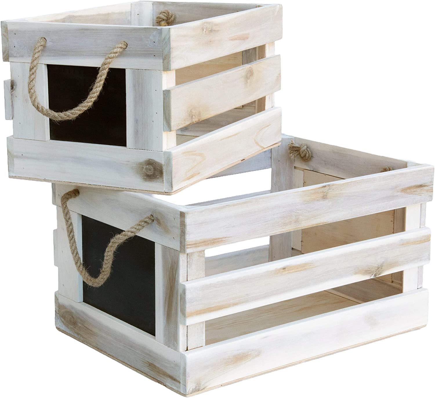 Modern Village White Wooden Crates Chalk Fac Set Decorative Many security popular brands with