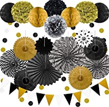 23Pcs Paper Fan Party Decoration, Black and Gold Hanging Paper Fans, Pom Poms Flowers, Garlands String Polka Dot and Bunti...