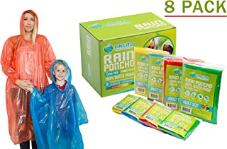 Lingito Rain Ponchos Family Pack | Emergency Raincoat Drawstring Hood Poncho for Children and Adults | Lightweight Reusable or Disposable 4 Pack, 8 Pack or 12 Pack