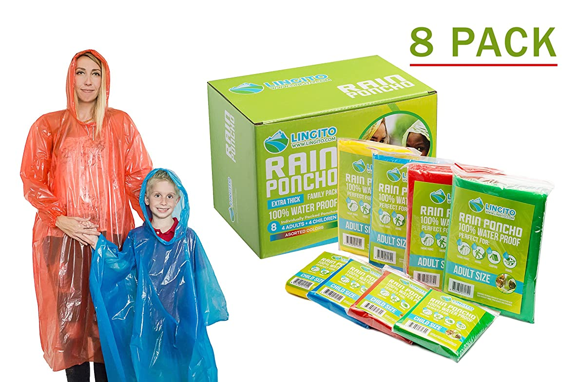 Lingito Rain Ponchos Family Pack | Emergency Raincoat Drawstring Hood Poncho for Children and Adults | Lightweight Reusable or Disposable 8 or 12 Pack
