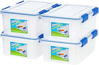 IRIS USA, Inc. WSB-SS Ziploc WeatherShield 16 Quart Storage Box, Clear, 4 Pack,