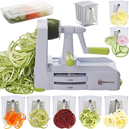 Brieftons 7-Blade Spiralizer: Strongest-and-Heaviest Duty Vegetable Spiral Slicer, Best Veggie Pasta Spaghetti Maker for Low Carb/Paleo/Gluten-Free, With Container, Lid, Blade Caddy & 4 Recipe Ebooks