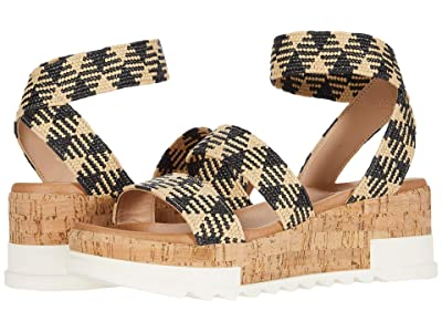 Steve Madden Bandi Wedge Sandal (Black Multi) Women