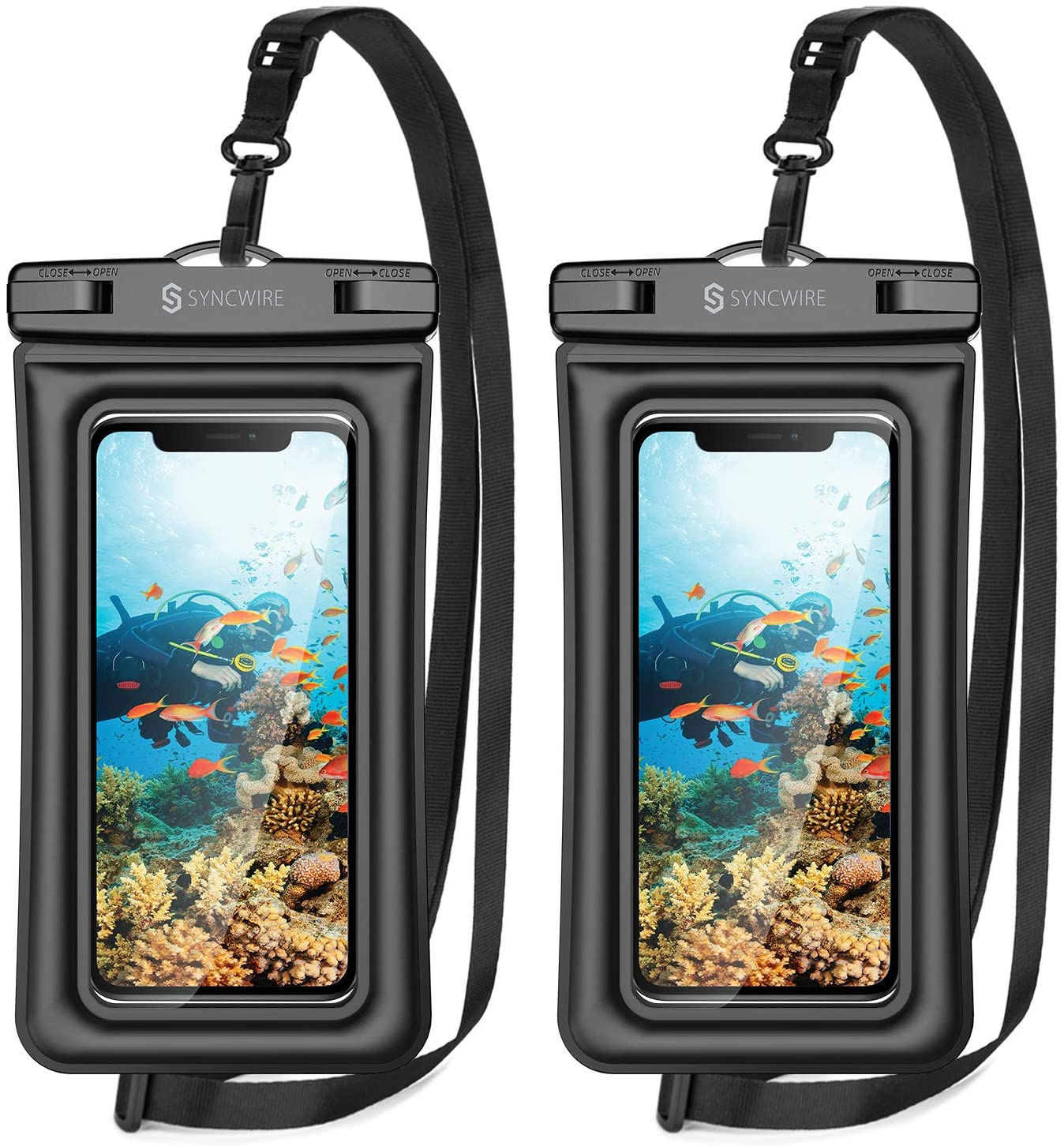 Syncwire Waterproof Phone Pouch, 2 Pack IPX8 Waterproof Case Underwater Dry Bag Compatible with iPhone 12 SE2 11 Pro XS Max XR X 8 7 6s Plus Galaxy S10 S9 Note 10 Google Pixel Up to 7