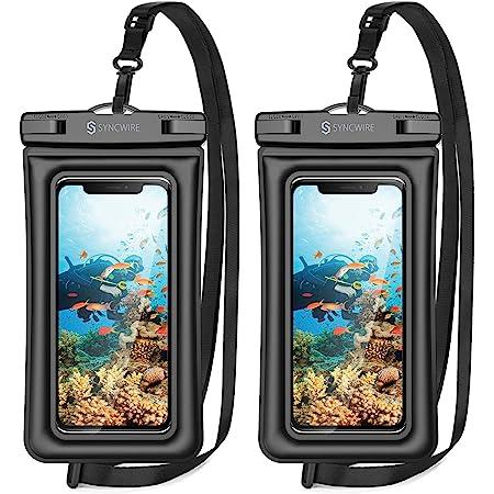2枚セット Syncwire 防水ケース スマホ 防水ケース 携帯防水ケース IPX8認定 顔認証 完全密封 よいタッチ iPhone/Android対応 7インチ以下全機種対応 ネックストラップ付き 水中撮影 お風呂 海水浴 水泳 旅行 雪 温泉プール 雨 潜水など適用