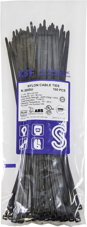 K.S Terminals Zip K-200S Ties 8 in 50 lbs White Nylon Cable Ties 100 Pieces