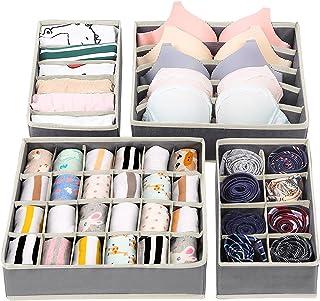 Likorlove Lot de 4 boîtes de rangement pour sous-vêtements, boîtes de rangement pliables, sous-vêtements, soutiens-gorge, ...